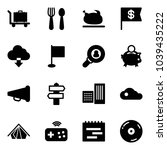 solid vector icon set   baggage ... | Shutterstock .eps vector #1039435222