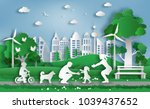 paper art style of family enjoy ... | Shutterstock .eps vector #1039437652