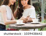 two beautiful freelance woman...   Shutterstock . vector #1039438642