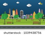 paper art and park on green... | Shutterstock .eps vector #1039438756
