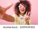 close up portrait of carefree... | Shutterstock . vector #1039439302