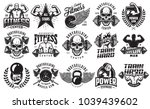 set of bodybuilding emblems in... | Shutterstock .eps vector #1039439602