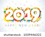 2019 happy new year xmas... | Shutterstock .eps vector #1039446322