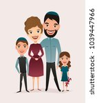 happy jewish family couple with ... | Shutterstock . vector #1039447966