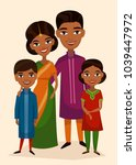 happy indian family couple with ... | Shutterstock . vector #1039447972