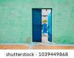 colorful house exterior in india | Shutterstock . vector #1039449868