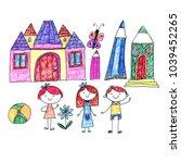 kindegraten and school children.... | Shutterstock . vector #1039452265