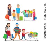 groups of people doing shopping ... | Shutterstock .eps vector #1039452946