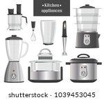 kitchen appliances in metallic... | Shutterstock .eps vector #1039453045