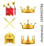 golden medieval symbols 3d... | Shutterstock .eps vector #1039453786