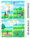 people relaxing in summer park... | Shutterstock .eps vector #1039453822