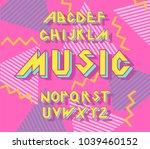 alphabet 90's retro font.vector ... | Shutterstock .eps vector #1039460152