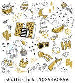 set of cute doodle isolated on... | Shutterstock .eps vector #1039460896