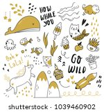 set of cute doodle isolated on... | Shutterstock .eps vector #1039460902