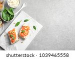 delicious bruschettas with... | Shutterstock . vector #1039465558