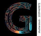"""g"" typographic icon on dark... | Shutterstock .eps vector #1039469872"