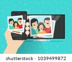 smartphone connected to tv... | Shutterstock .eps vector #1039499872