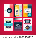 set of six black friday banners ... | Shutterstock .eps vector #1039500796