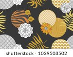golden and silver floral... | Shutterstock .eps vector #1039503502