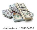 many bundle of us 100 dollars... | Shutterstock . vector #1039504756