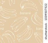 bananas vector pattern  beige... | Shutterstock .eps vector #1039507522