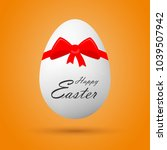 egg with happy easter lettering ... | Shutterstock .eps vector #1039507942