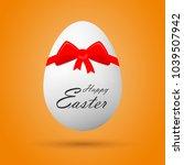egg with happy easter lettering ... | Shutterstock .eps vector #1039507942
