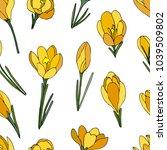 yellow crocus pattern | Shutterstock .eps vector #1039509802