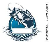 fishing bass logo. bass fish... | Shutterstock .eps vector #1039520095