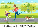 mother and daughter jogging... | Shutterstock .eps vector #1039527805
