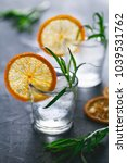 two shots of cocktails with ice ... | Shutterstock . vector #1039531762