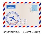 envelope with barcelona stamp.... | Shutterstock . vector #1039532095