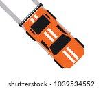 orange sport car in  plan view | Shutterstock .eps vector #1039534552