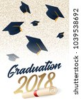graduation 2018 poster with hat.... | Shutterstock .eps vector #1039538692