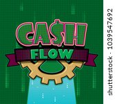 cash flow text emblem on green... | Shutterstock .eps vector #1039547692