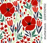 seamless pattern with red poppy ... | Shutterstock .eps vector #1039550902