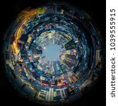 circle panorama of urban city... | Shutterstock . vector #1039555915