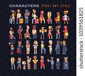 pixel art 80s style people... | Shutterstock .eps vector #1039561825