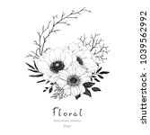 hand drawn floral decor with... | Shutterstock .eps vector #1039562992