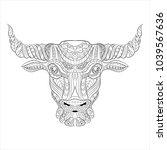 bull zentangle style on white...   Shutterstock .eps vector #1039567636