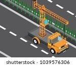 crane truck in the highway  | Shutterstock .eps vector #1039576306