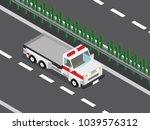 wrecker truck in the highway  | Shutterstock .eps vector #1039576312