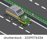 garbage truck in the highway  | Shutterstock .eps vector #1039576336