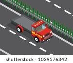 red truck truck in the highway  | Shutterstock .eps vector #1039576342