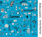 seamless pattern with summer... | Shutterstock .eps vector #1039579858
