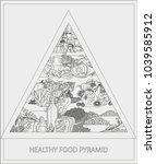 food pyramid. healthy food  ...   Shutterstock .eps vector #1039585912