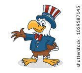 cartoon eagle wearing uncle sam ... | Shutterstock .eps vector #1039587145
