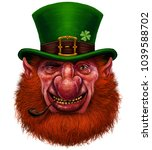 leprechaun st patricks day... | Shutterstock . vector #1039588702