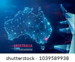 map of australia. floating blue ... | Shutterstock .eps vector #1039589938