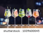 Five colorful gin tonic...